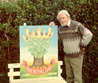 Ronald M. White and the pub sign he painted for the Royal Oak